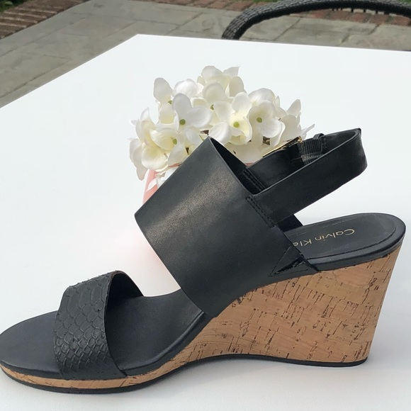 0608c2d42a7 Calvin Klein Cork Wedge Black Sandal